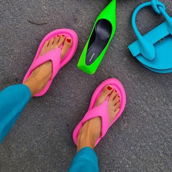 Zara pink platform sandals flip flops